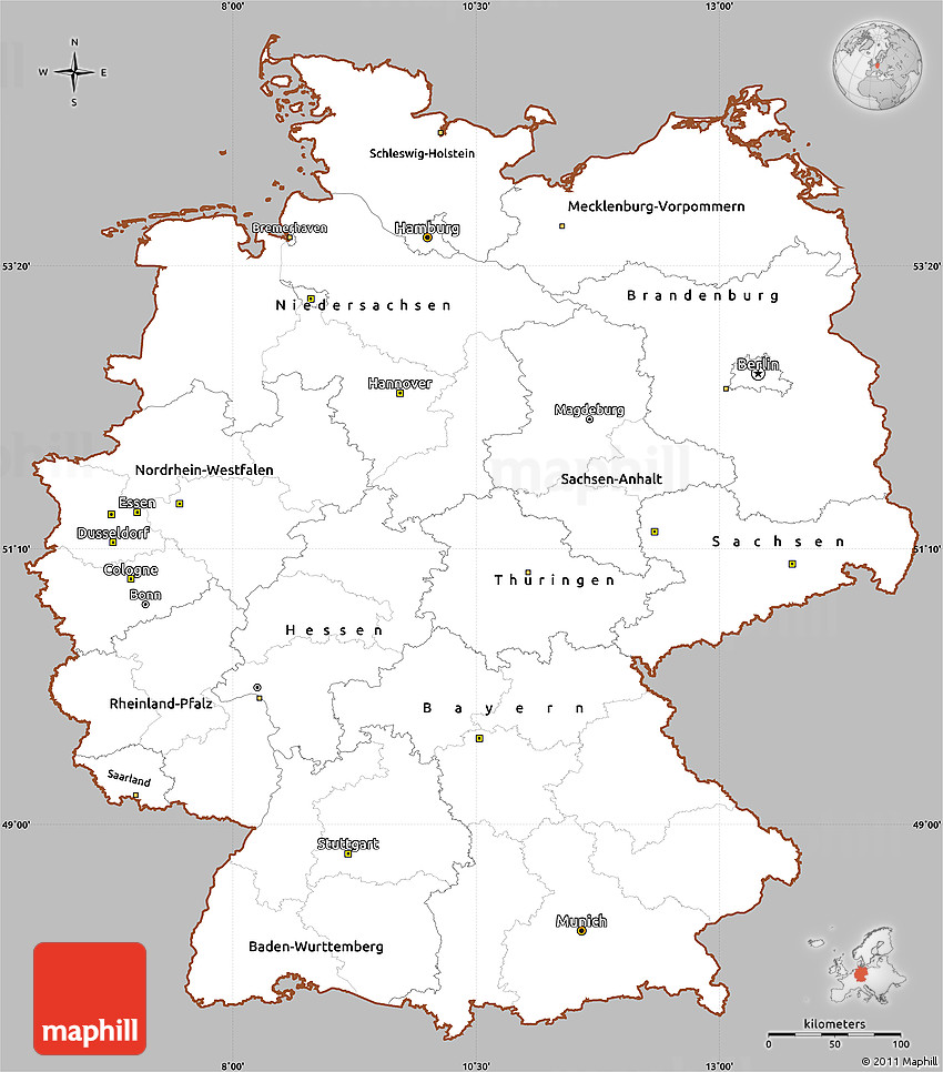 Gray Simple Map Of Germany Cropped Outside - Germany map simple