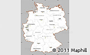 Gray Simple Map of Germany, cropped outside