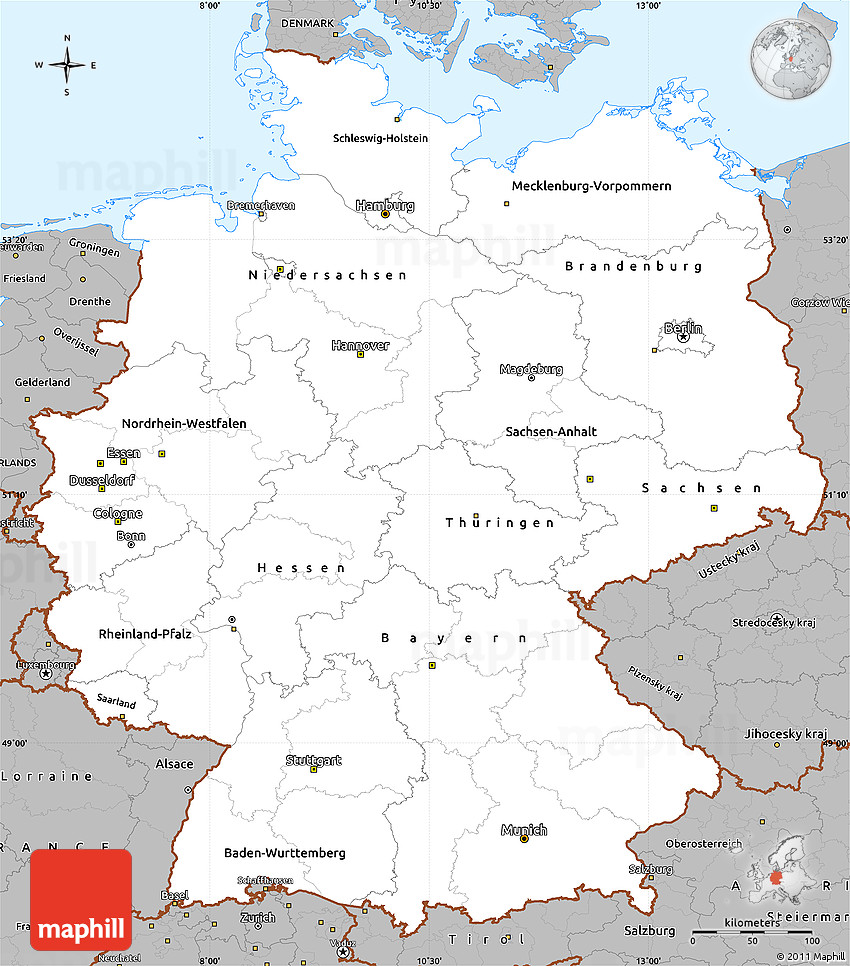 Gray Simple Map Of Germany - Germany map simple
