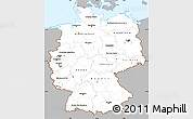 Gray Simple Map of Germany, single color outside