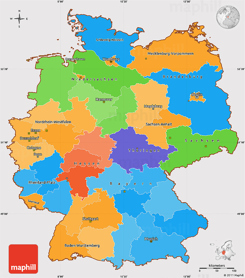 Political Simple Map of Germany, cropped outside