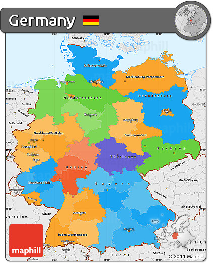 political simple map of germany single color outside borders and labels