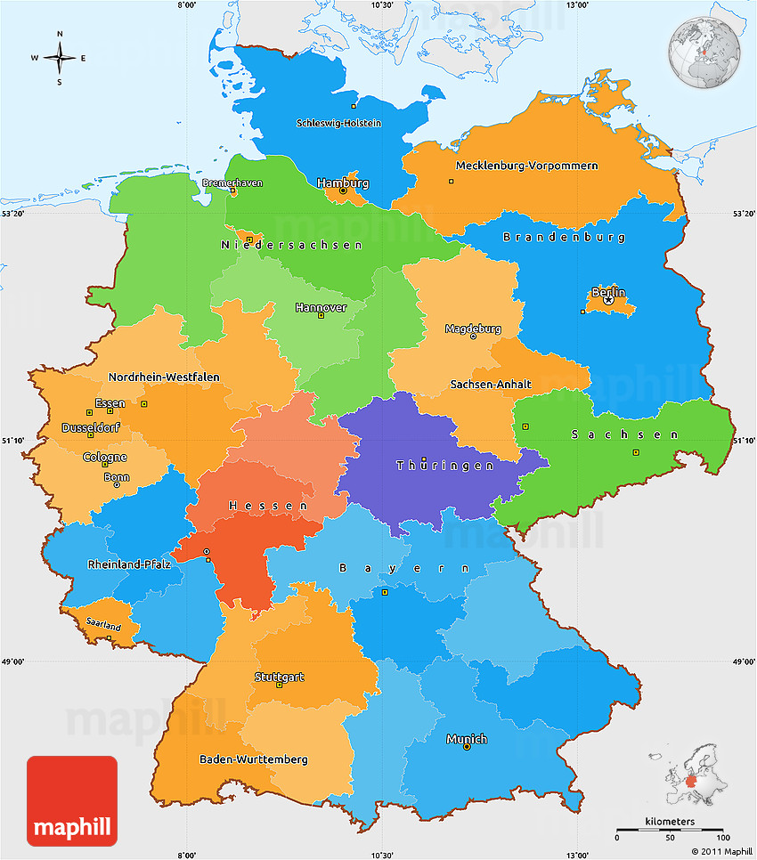 Germany On Map Of World.Political Simple Map Of Germany Single Color Outside