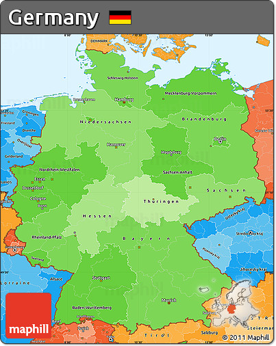 Political Shades Simple Map of Germany