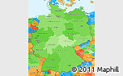 Political Shades Simple Map of Germany, political outside