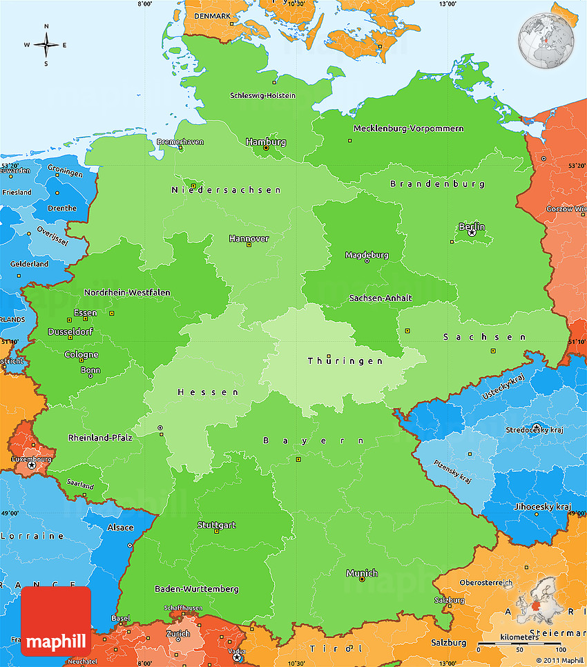 Political Shades Simple Map Of Germany - Germany map simple