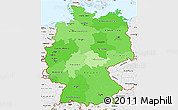 Political Shades Simple Map of Germany, single color outside, borders and labels