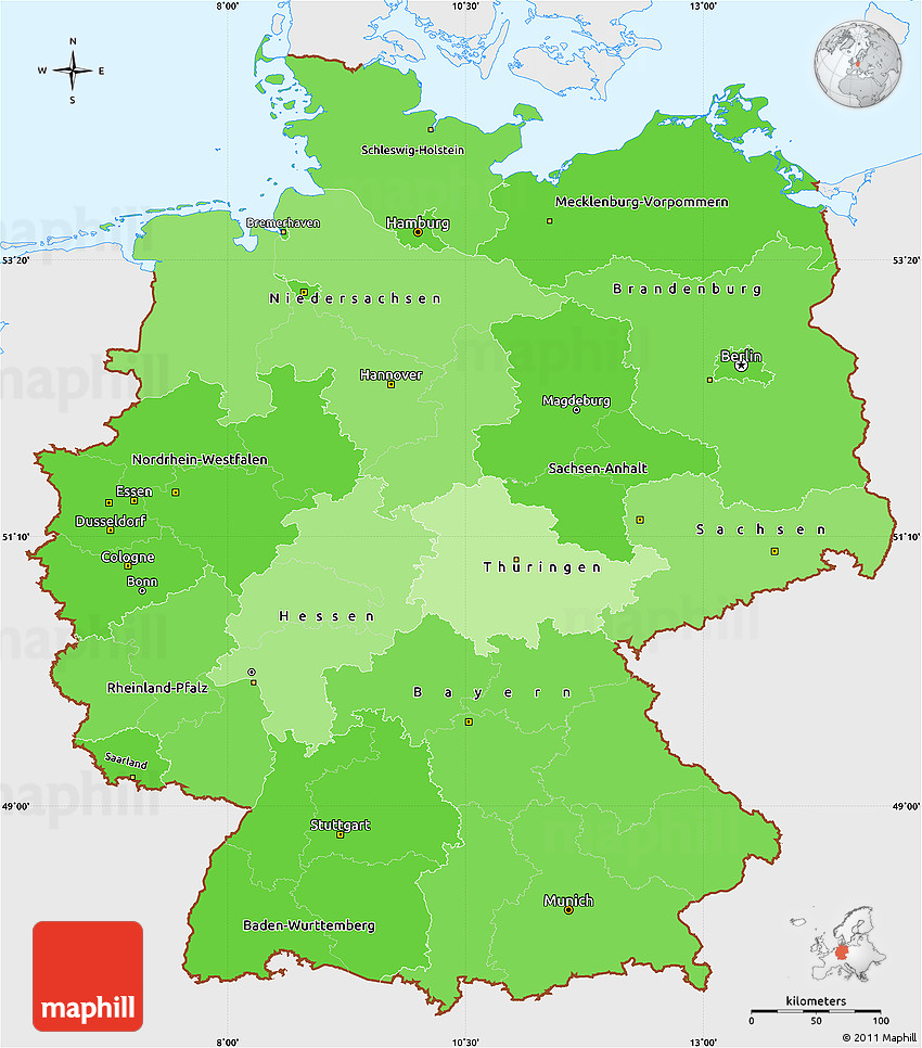 Political Shades Simple Map Of Germany Single Color Outside - Germany map simple