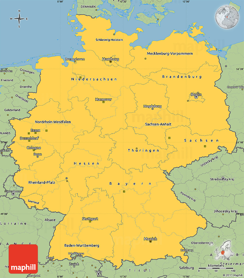 Savanna Style Simple Map of Germany – A Map of Germany