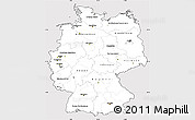 Silver Style Simple Map of Germany, cropped outside