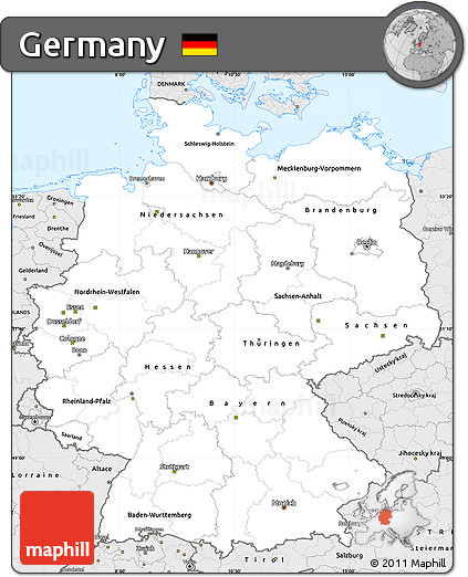 Silver Style Simple Map of Germany