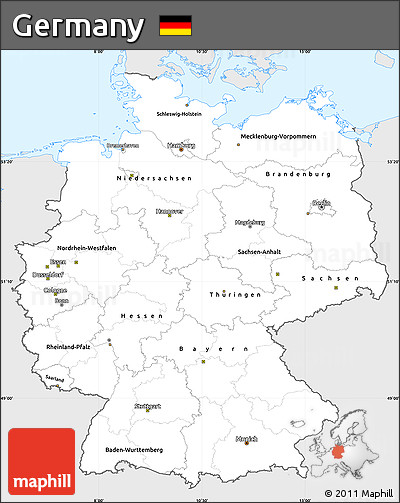 Free Silver Style Simple Map of Germany, single color outside