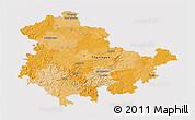 Political 3D Map of Thüringen, cropped outside