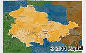 Political 3D Map of Thüringen, darken