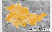 Political 3D Map of Thüringen, desaturated