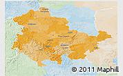 Political 3D Map of Thüringen, lighten
