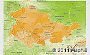 Political 3D Map of Thüringen, physical outside