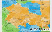 Political 3D Map of Thüringen