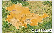 Political 3D Map of Thüringen, satellite outside
