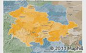 Political 3D Map of Thüringen, semi-desaturated
