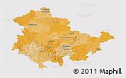 Political 3D Map of Thüringen, single color outside