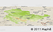 Physical Panoramic Map of Thüringen, shaded relief outside