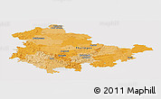 Political Panoramic Map of Thüringen, cropped outside