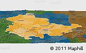 Political Panoramic Map of Thüringen, darken