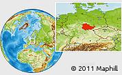 Physical Location Map of Thüringen