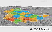Political Panoramic Map of Thüringen, desaturated
