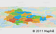 Political Panoramic Map of Thüringen, lighten