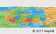 Political Panoramic Map of Thüringen, political shades outside