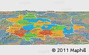 Political Panoramic Map of Thüringen, semi-desaturated