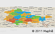 Political Panoramic Map of Thüringen, shaded relief outside