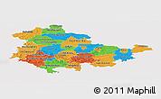 Political Panoramic Map of Thüringen, single color outside