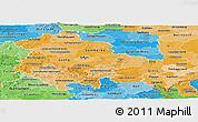 Political Shades Panoramic Map of Thüringen