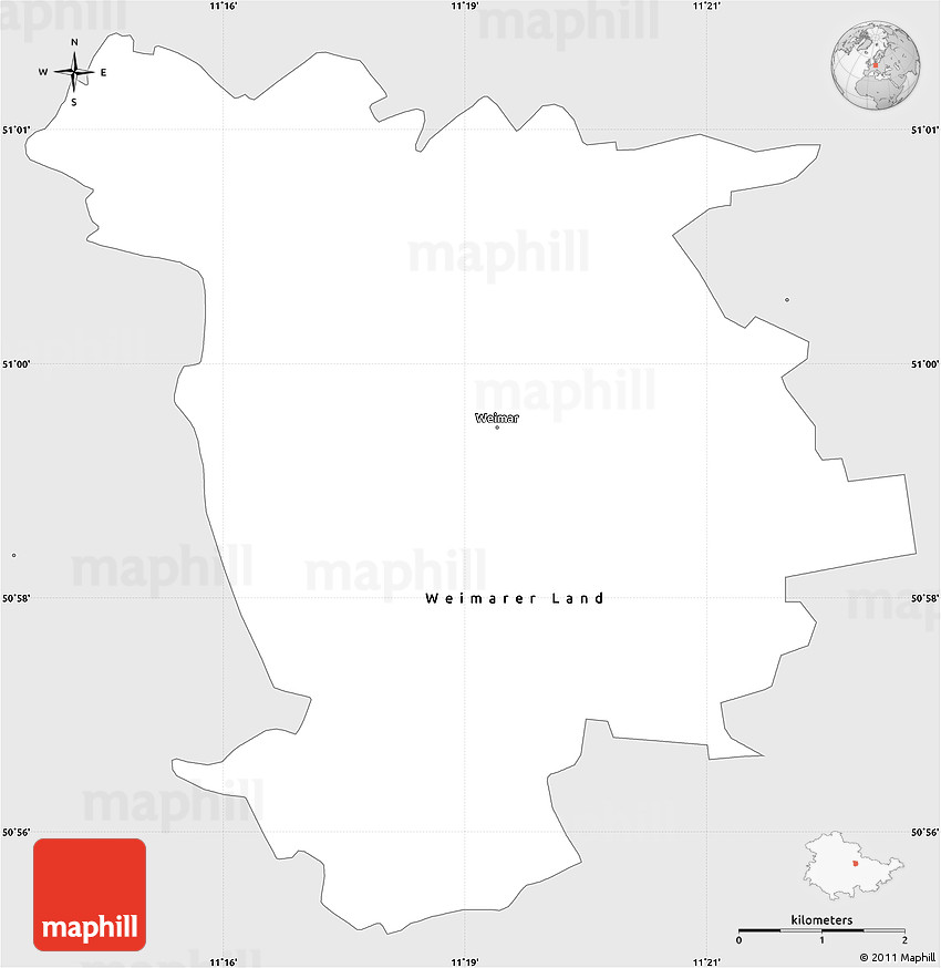 Silver Style Simple Map Of Weimar