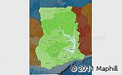 Political Shades 3D Map of Ghana, darken