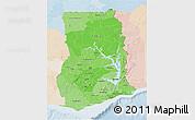 Political Shades 3D Map of Ghana, lighten