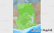 Political Shades 3D Map of Ghana, semi-desaturated, land only