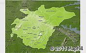 Physical 3D Map of Ashanti, darken