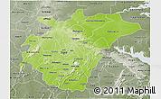 Physical 3D Map of Ashanti, semi-desaturated