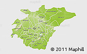 Physical 3D Map of Ashanti, single color outside