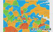 Political 3D Map of Ashanti