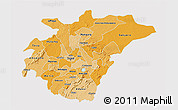 Political Shades 3D Map of Ashanti, cropped outside