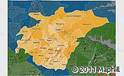 Political Shades 3D Map of Ashanti, darken