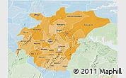 Political Shades 3D Map of Ashanti, lighten