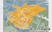 Political Shades 3D Map of Ashanti, semi-desaturated