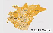 Political Shades 3D Map of Ashanti, single color outside