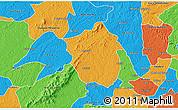 Political 3D Map of Ahafo-Ano